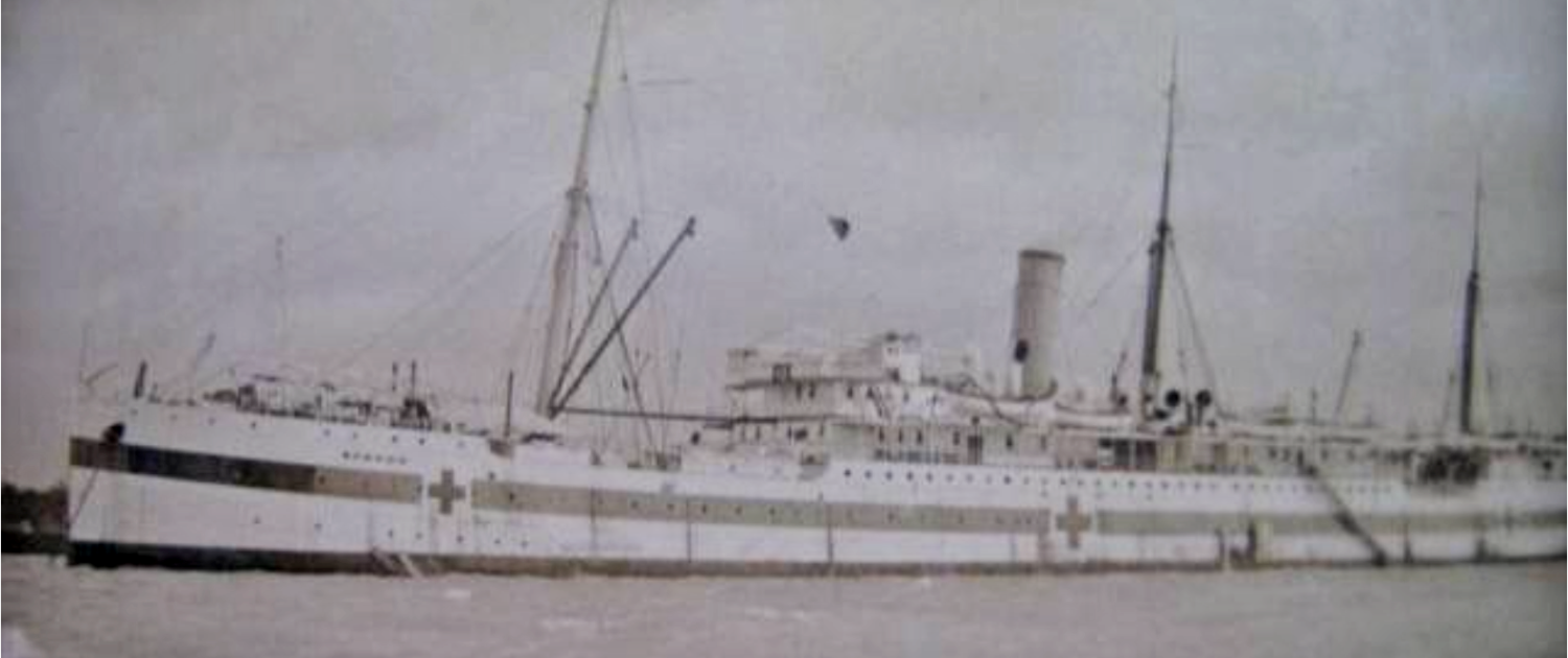 The hospital ship, Gascon, anchored off Gallipoli.