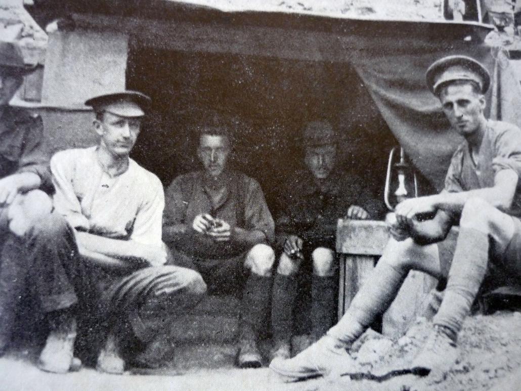 Typical dugout accommodation at Gallipoli (men unknown) Courtesy AWM