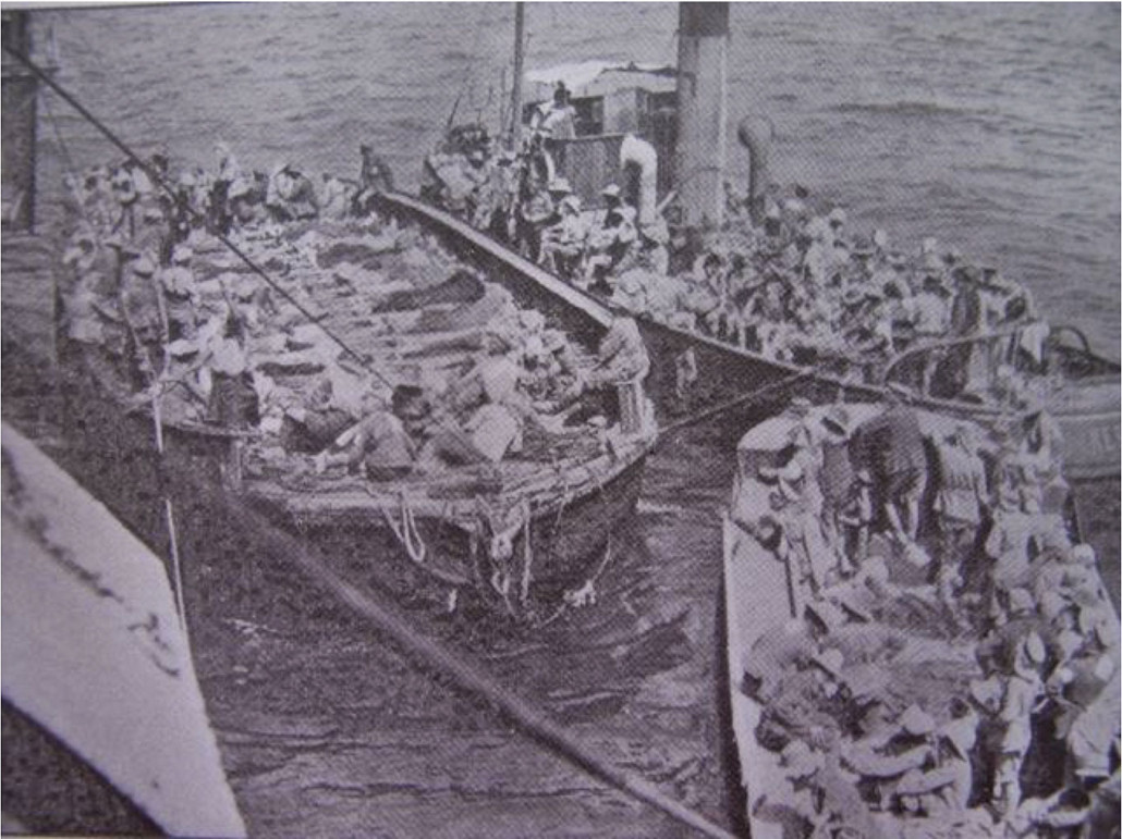 "Getting the wounded on board Gascon – Image Courtesy ""Australian Heroines of World War 1"" Suzanne De Vries"